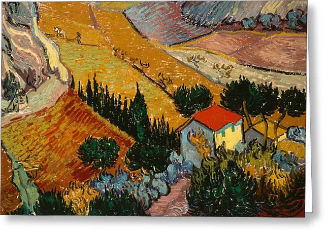Roof Greeting Cards - Landscape with House and Ploughman Greeting Card by Vincent Van Gogh