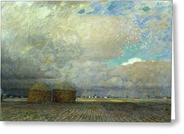Field. Cloud Paintings Greeting Cards - Landscape with Huts Greeting Card by Leopold Karl Walter von Kalckreuth