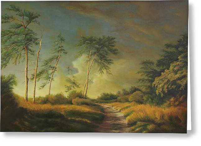 Pictura Greeting Cards - Landscape with pine trees  Greeting Card by Dan Scurtu