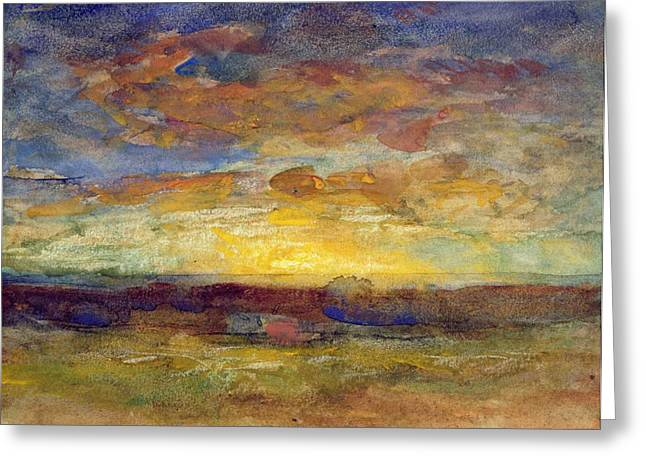 Sunset Seascape Paintings Greeting Cards - Landscape with Setting Sun Greeting Card by Auguste Francois Ravier