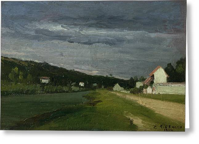 Pissarro; Camille (1830-1903) Greeting Cards - Landscape with Stormy Sky Greeting Card by Camille Pissarro