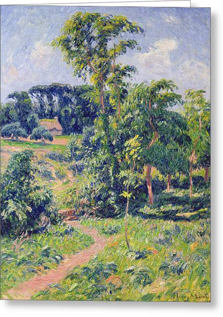 Moret Greeting Cards - Landscape with trees and a path leading to a cottage  Greeting Card by Henry Moret