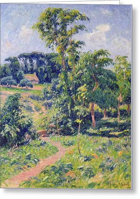 Landscape With Trees And A Path Leading To A Cottage  Greeting Card by Henry Moret