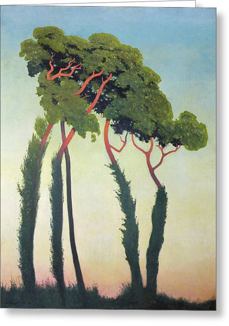 Vallotton Greeting Cards - Landscape with Trees Greeting Card by Felix Edouard Vallotton