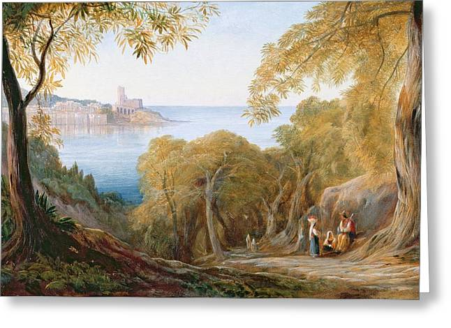 Landscape With View Of Lerici Greeting Card by Edward Lear