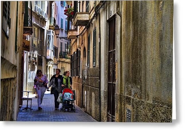 Lane Greeting Cards - Lane in Palma de Majorca Spain Greeting Card by David Smith