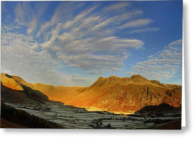 Pike Of Stickle Greeting Cards - Langdale Cloud Fireworks Greeting Card by Stewart Smith