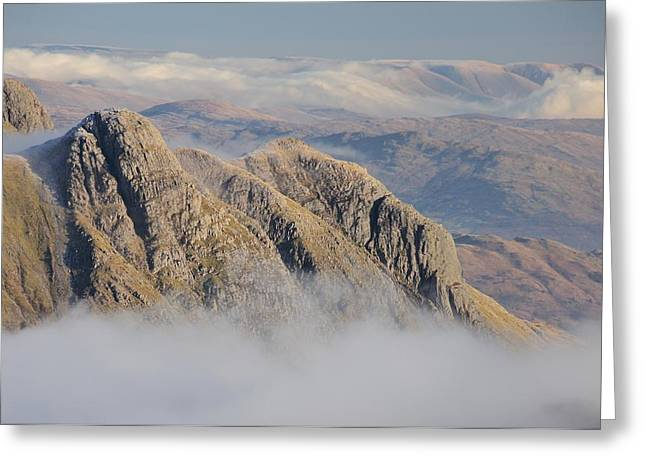 Temperature Inversion Greeting Cards - Langdale Pikes Greeting Card by Stewart Smith