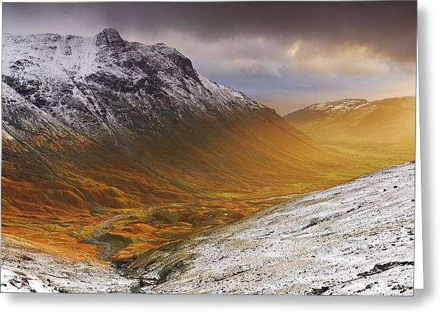 Pike Of Stickle Greeting Cards - Langdale Sunburst Greeting Card by Stewart Smith