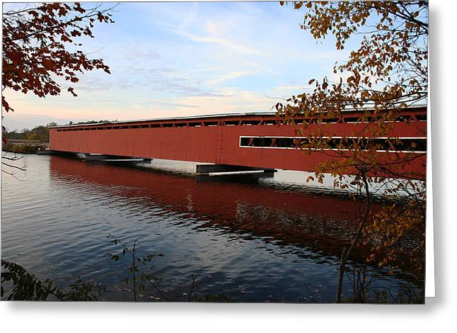 Centreville Greeting Cards - Langley Covered Bridge Greeting Card by Christy Woods