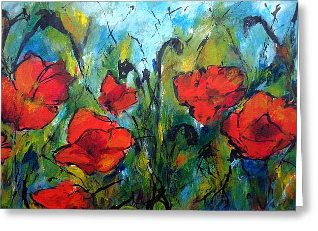 Languedoc Paintings Greeting Cards - Languedoc Poppies No 2 Greeting Card by Jackie Sherwood