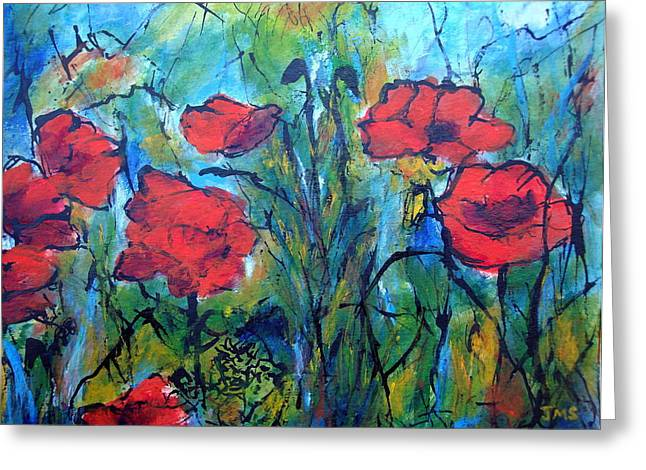 Languedoc Paintings Greeting Cards - Languedoc Poppies no 4 Greeting Card by Jackie Sherwood