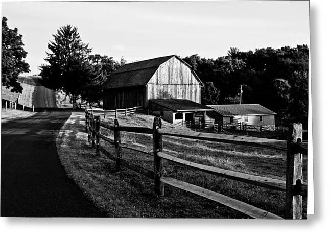 Langus Farms Black and White Greeting Card by Jim Finch