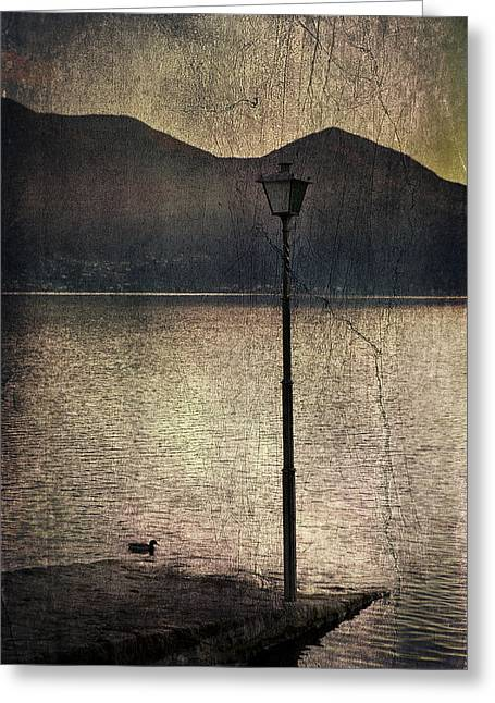 Night Lamp Greeting Cards - Lantern At The Lake Greeting Card by Joana Kruse