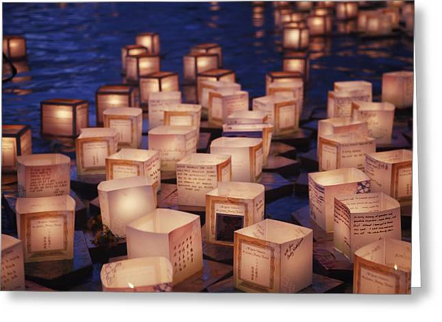 Rememberance Greeting Cards - Lantern Floating Ceremony Greeting Card by Brandon Tabiolo - Printscapes