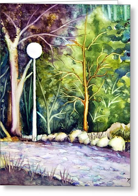 Paradise Road Paintings Greeting Cards - Lanterns - Wilsons Park Greeting Card by Dagmara Czarnota
