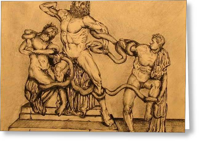 Tim Mixed Media Greeting Cards - Laocoon and his sons Greeting Card by Tim Foley