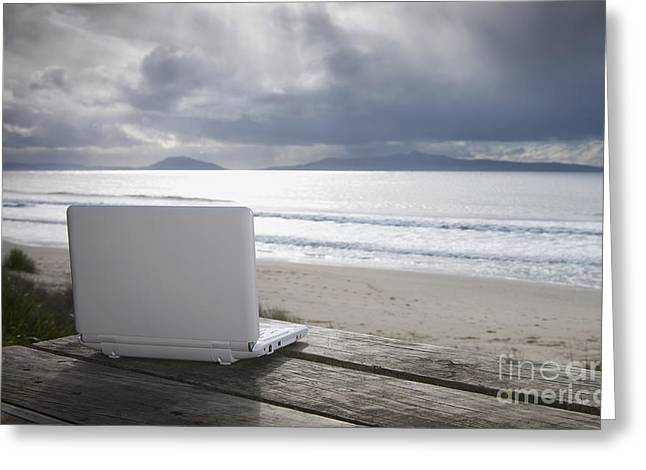 Internet Connection Greeting Cards - Laptop Computer At Beach Greeting Card by Dave & Les Jacobs