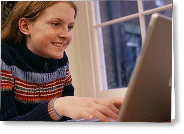 Schoolgirl Greeting Cards - Laptop Computer Use Greeting Card by Tek Image
