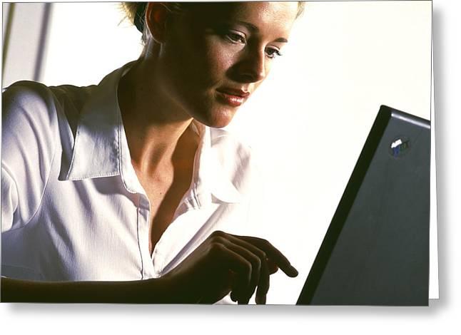 Hardware Greeting Cards - Laptop Computing Greeting Card by Tek Image