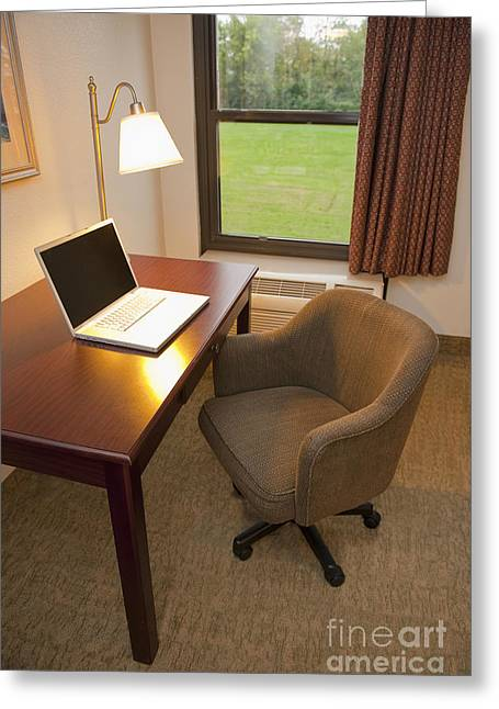 Internet Connection Greeting Cards - Laptop on a Hotel Room Desk Greeting Card by Thom Gourley/Flatbread Images, LLC