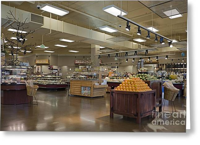 Large And Modern Grocery Store Greeting Card by Robert Pisano