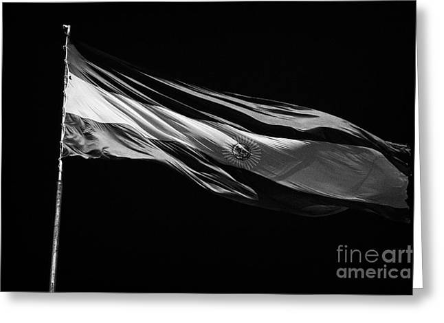 large argentinian flag flying in the wind against a blue sky republic of argentina Greeting Card by Joe Fox