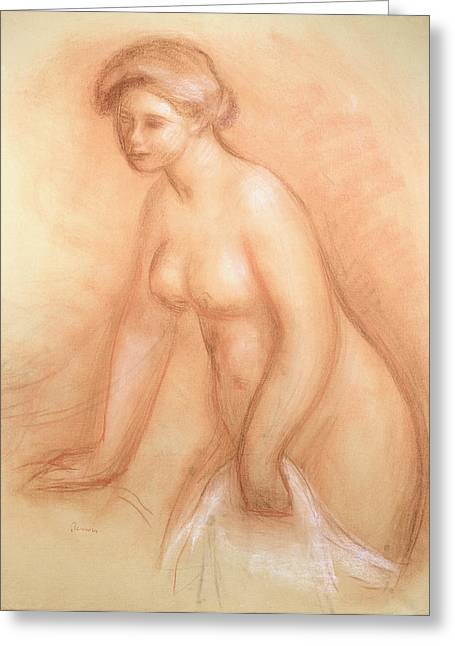 Feminine Pastels Greeting Cards - Large Bather Greeting Card by Pierre Auguste Renoir