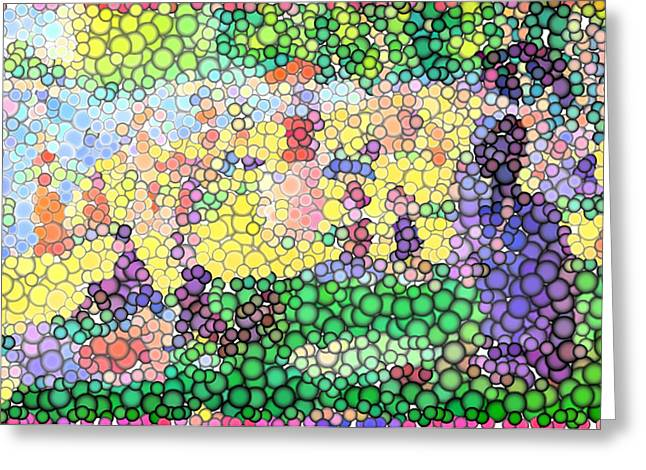 Large Bubbly Sunday on La Grande Jatte Greeting Card by Mark Einhorn
