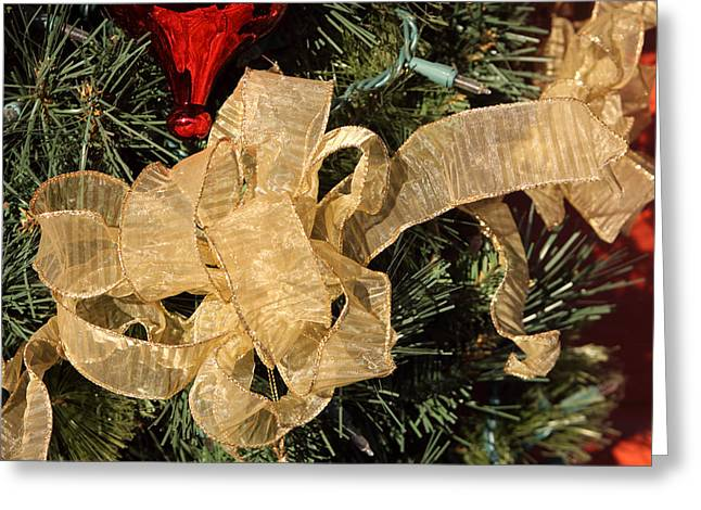 Pine Needles Greeting Cards - Large Christmas Bow Greeting Card by Linda Phelps