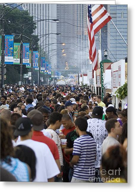 Jam-packed Greeting Cards - Large crowd of people walking at the Taste of Chicago outdoor festival Greeting Card by Christopher Purcell