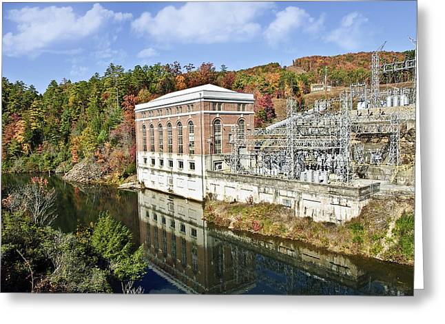 Susan Leggett Greeting Cards - Large Dam in Autumn Greeting Card by Susan Leggett