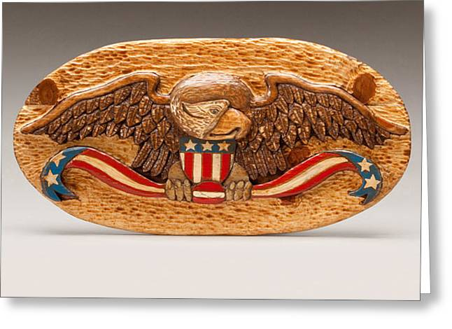 Red And White Reliefs Greeting Cards - Large Eagle Greeting Card by James Neill