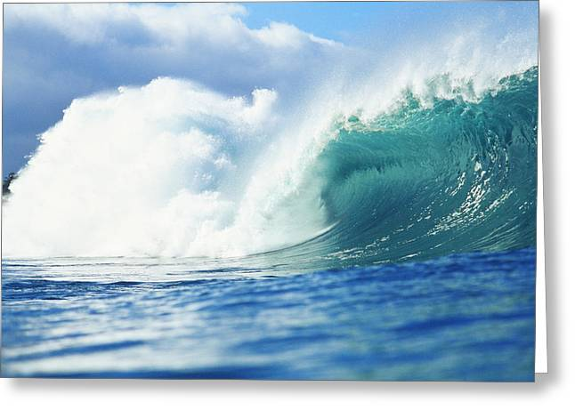 Vince Greeting Cards - Large Green Wave Greeting Card by Vince Cavataio - Printscapes