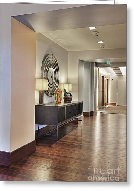 Credenza Greeting Cards - Large Hallway in Building Greeting Card by Andersen Ross