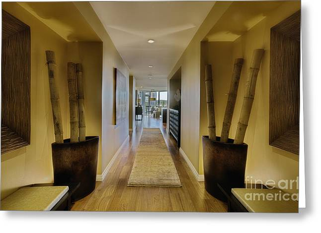 Bamboo House Photographs Greeting Cards - Large Hallway in Upscale Residence Greeting Card by Andersen Ross