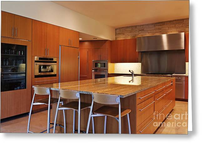 Empty Drawers Greeting Cards - Large Kitchen, Island Greeting Card by Jeremy Woodhouse