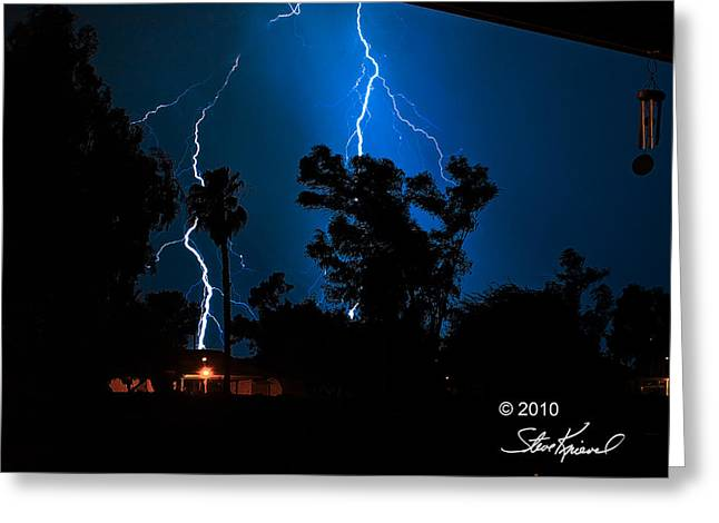 Steve Knievel Greeting Cards - Large Lightening Strike Greeting Card by Steve Knievel