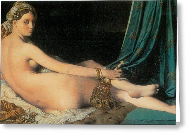 Large Odalisque Greeting Card by Jean-August-Dominique Ingres