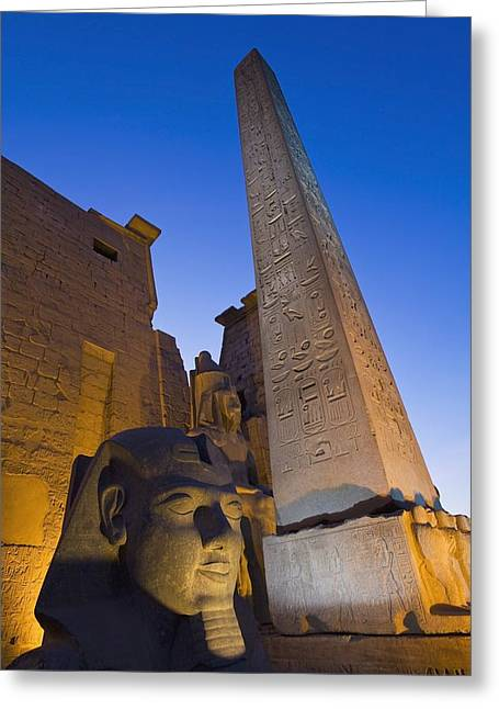 Pharaoh Greeting Cards - Large Pharaohs Head Statue And Obelisk Greeting Card by Axiom Photographic