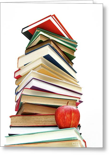 Reading Images Greeting Cards - Large pile of books isolated on white Greeting Card by Sandra Cunningham