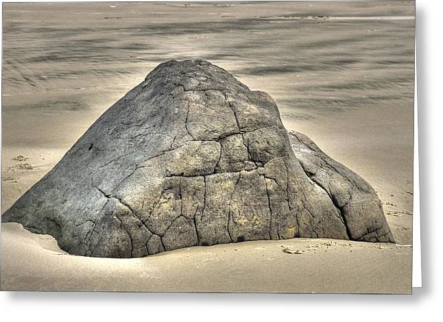Substantial Greeting Cards - Large Rock On The Beach Greeting Card by One Rude Dawg Orcutt