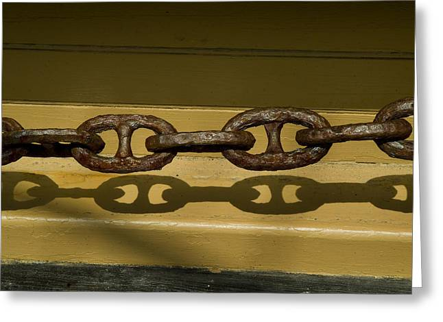Wooden Ship Greeting Cards - Large Rusted Chain And Its Shadow Greeting Card by Todd Gipstein