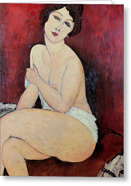 Large Breasts Greeting Cards - Large Seated Nude Greeting Card by Amedeo Modigliani