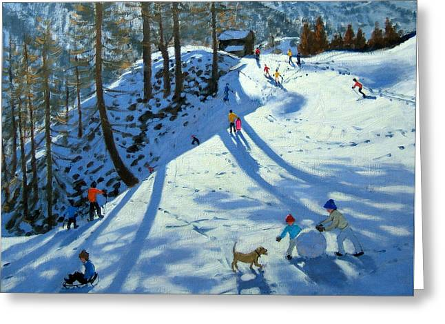 Alps Greeting Cards - Large Snowball Zermatt Greeting Card by Andrew Macara