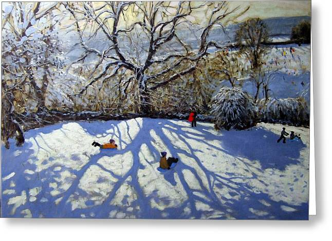 Toboggan Greeting Cards - Large tree and tobogganers Greeting Card by Andrew Macara