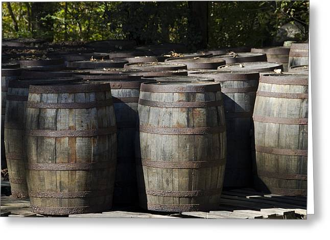 Rusted Barrels Greeting Cards - Large Wooden Barrels Used To Store Greeting Card by Todd Gipstein