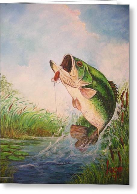 Largemouth Bass Greeting Card by Jose Lugo