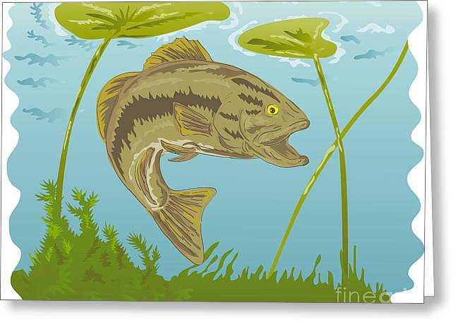 Water Lilly Digital Greeting Cards - Largemouth Bass Jumping Greeting Card by Aloysius Patrimonio