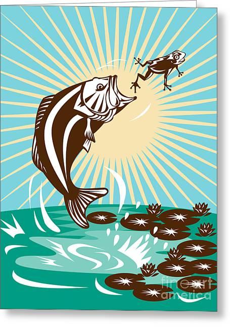 Largemouth Greeting Cards - Largemouth Bass Jumping Catching Frog  Greeting Card by Aloysius Patrimonio